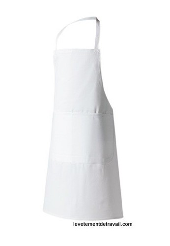 Tablier de cuisine bavette blanc for Tablier de cuisine plastifie